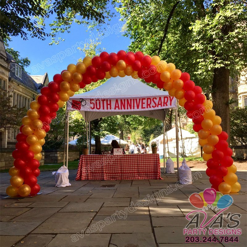 Gold & Red Double Spiral Outdoor Balloon Arch