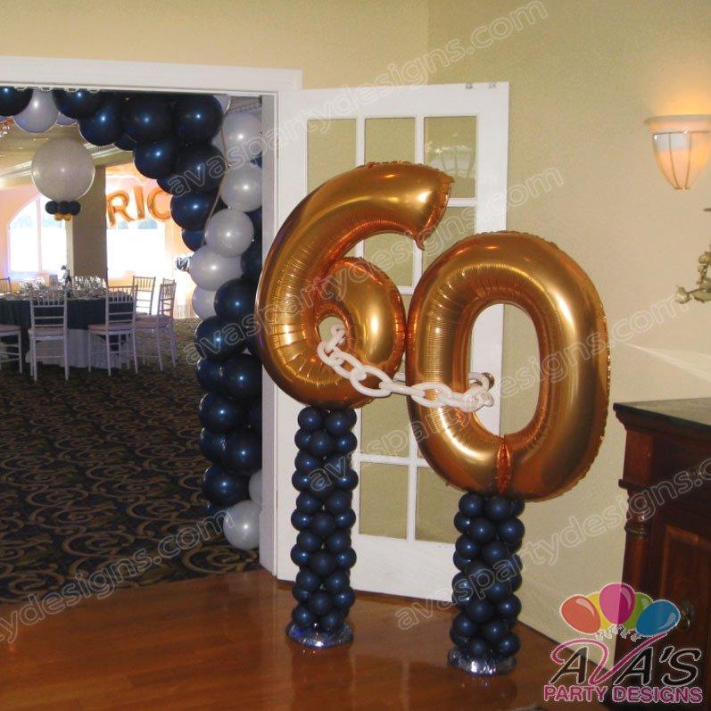 60th Birthday Balloon sculpture, number balloon sculpture, birthday balloons