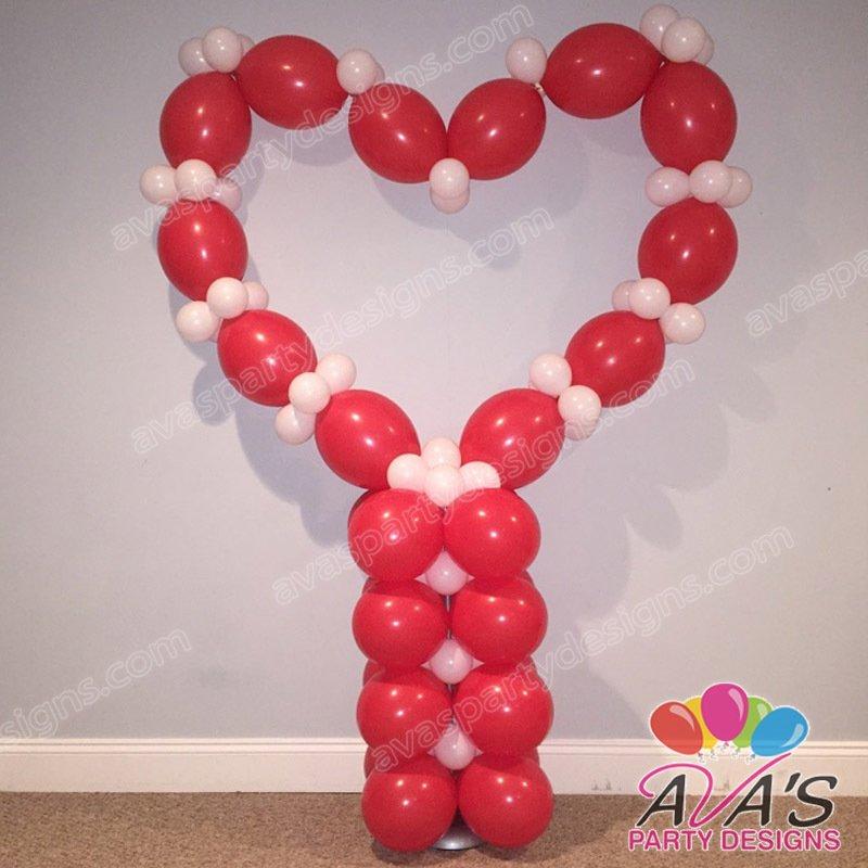heart balloon sculpture, valentine balloon decoration, balloon sculpture