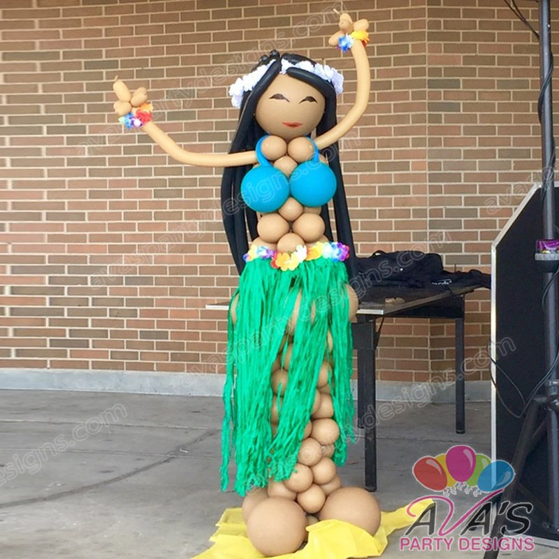 Hawaii Balloon Sculpture, Aloha Balloon Girl, Balloon Column