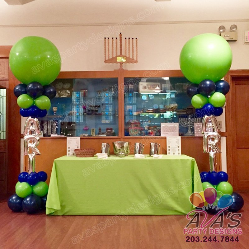 Bar Mitzvah Balloon Decoration, Balloon Column with Name