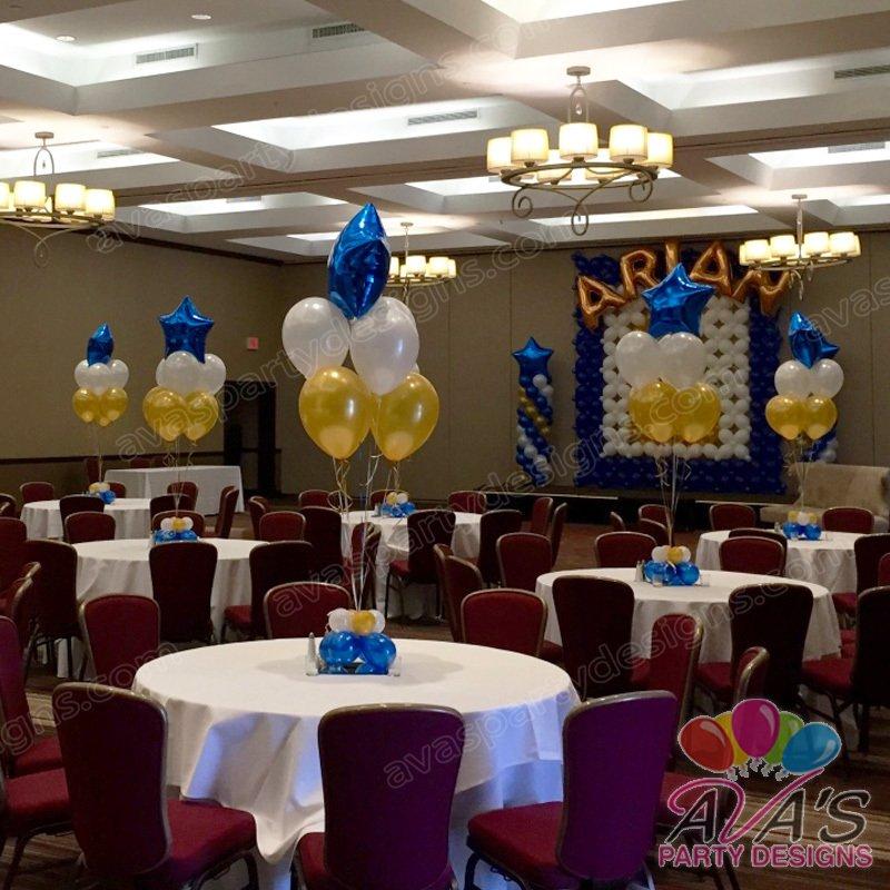7 balloon bouquet, star balloon centerpiece, gold and blue balloon decor