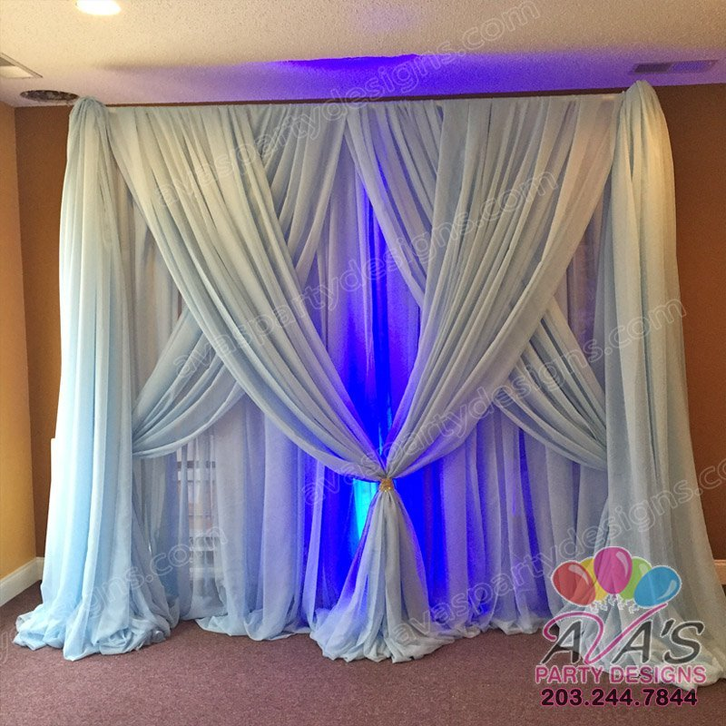 Elegant Fabric Backdrop, blue draping backdrop, draping ideas