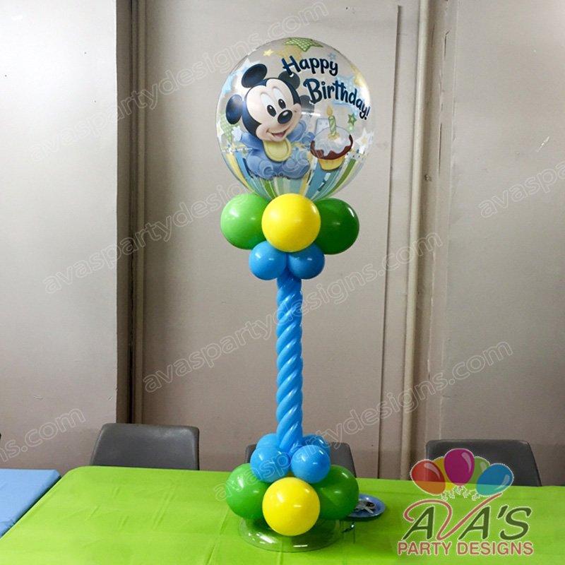Ava's Party Designs, Baby Mickey 1st Birthday Balloon Centerpiece, Mickey Mose Balloon Decoration, theme birthday party ideas, baby mickey mouse 1st birthday