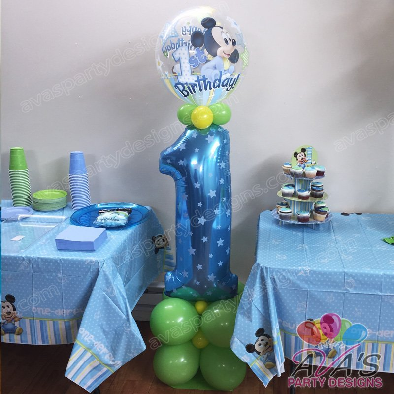 Baby Mickey 1st Birthday Balloon Column, Mickey Mouse Balloon, 1st Birthday Balloon Ideas, baby mickey mouse 1st birthday