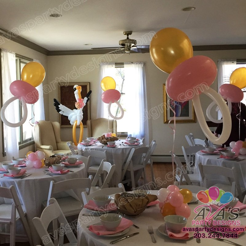 Gold Pink and White Balloon Pacifier, baby shower balloon centerpiece, baby shower balloon decoration, balloon pacifier