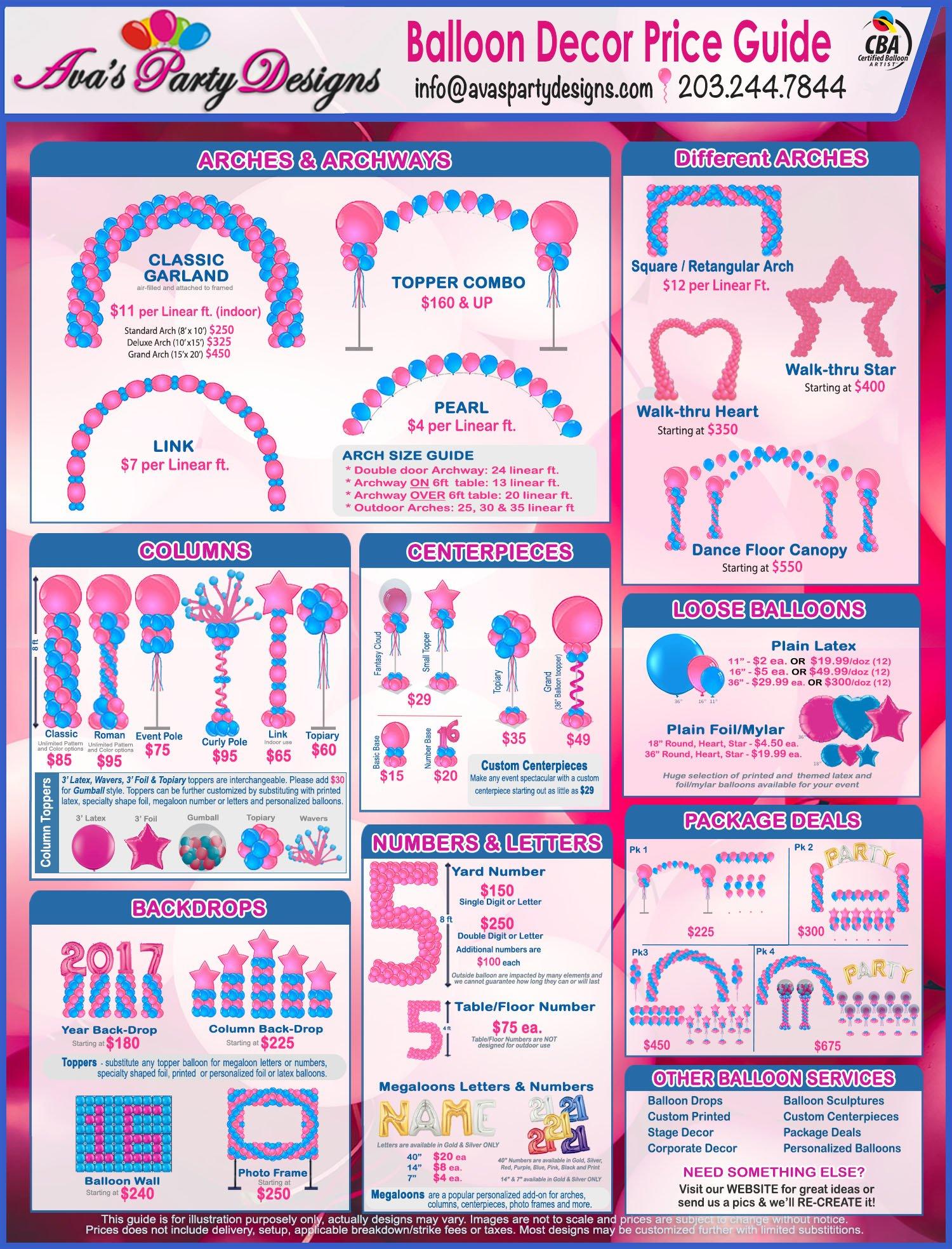 Balloon Decor Price Guide, Balloon Decor Prices