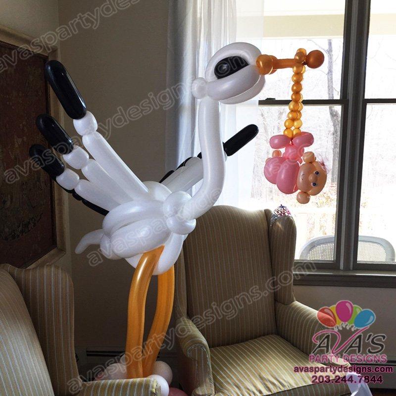 balloon stork, baby shower balloon decoration, balloon sculpture
