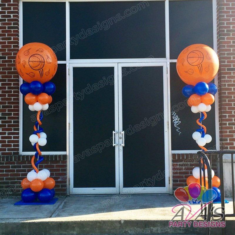 Basketball Column, Bar Mitzvah Balloon Decoration, Sports theme party decoration idea
