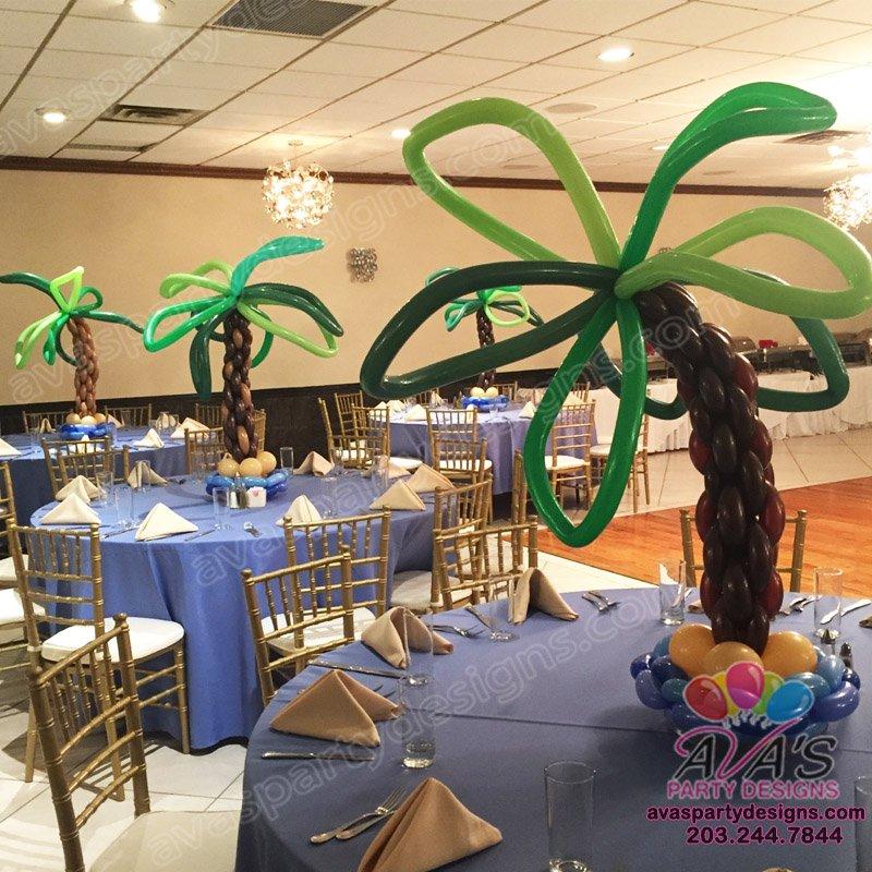 table top palm tree centerpieces, pool theme balloon decoration, beach theme party balloon ideas