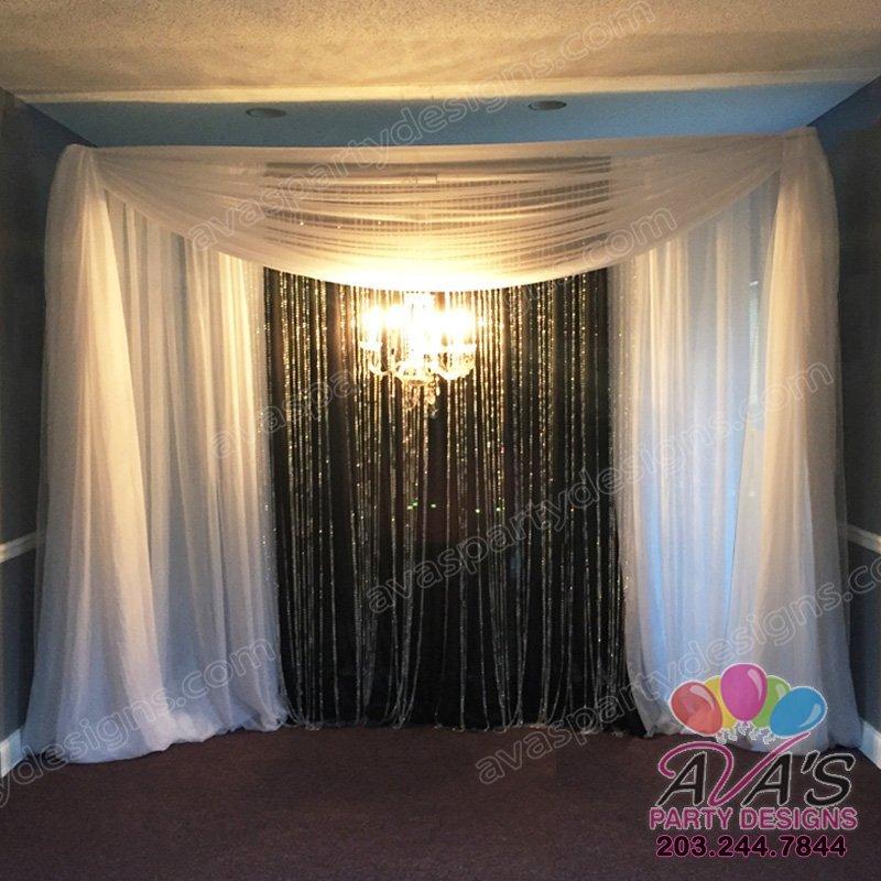 Elegant Black and White Fabric Backdrop, Party Rental