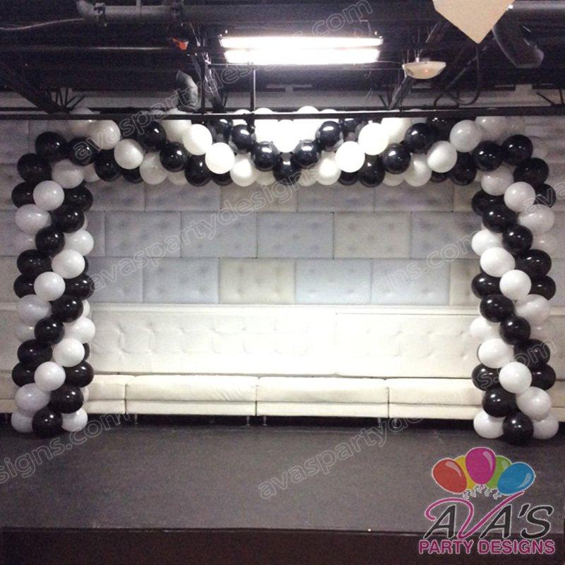 Black & White Balloon Arch, balloon arch, square balloon arches,