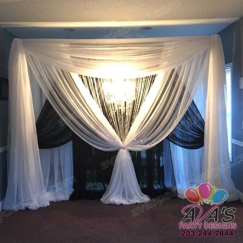 Black and White Fabric Backdrop with crystal curtains, elegant draping ideas