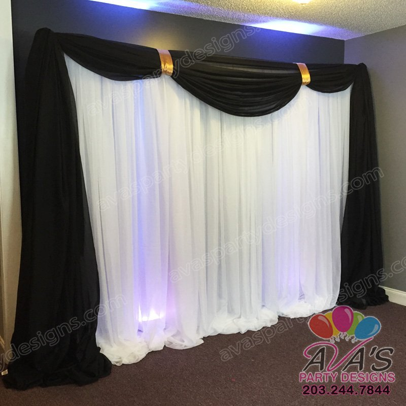 Black and White Fabric Backdrop, wedding draping ideas