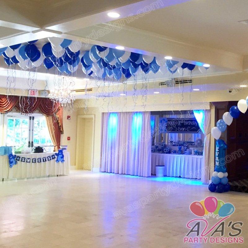 Blue & White Balloon Ceiling, balloon ceiling