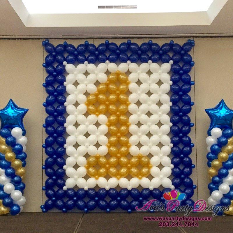 1st Birthday Balloon Wall, Age balloon decor