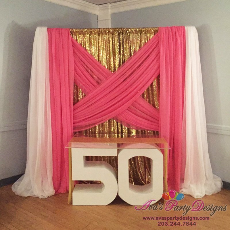 party rentals, statement table, fabric backdrop