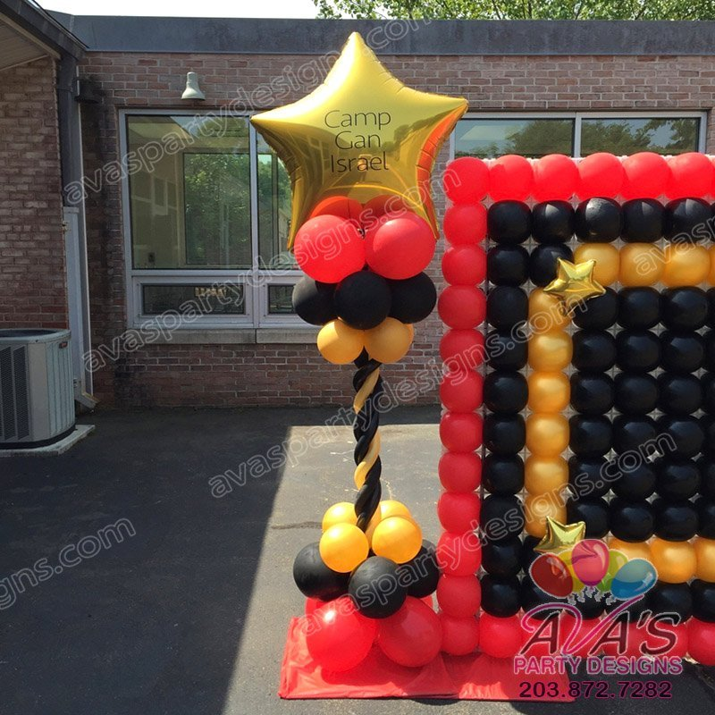 Star Topper Balloon Column, Red Black and Gold Balloon Decoration