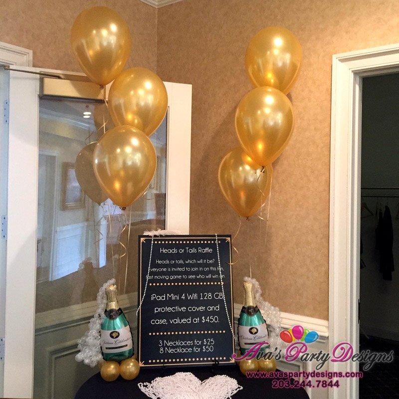 champagne bottle balloon centerpiece, balloon decor