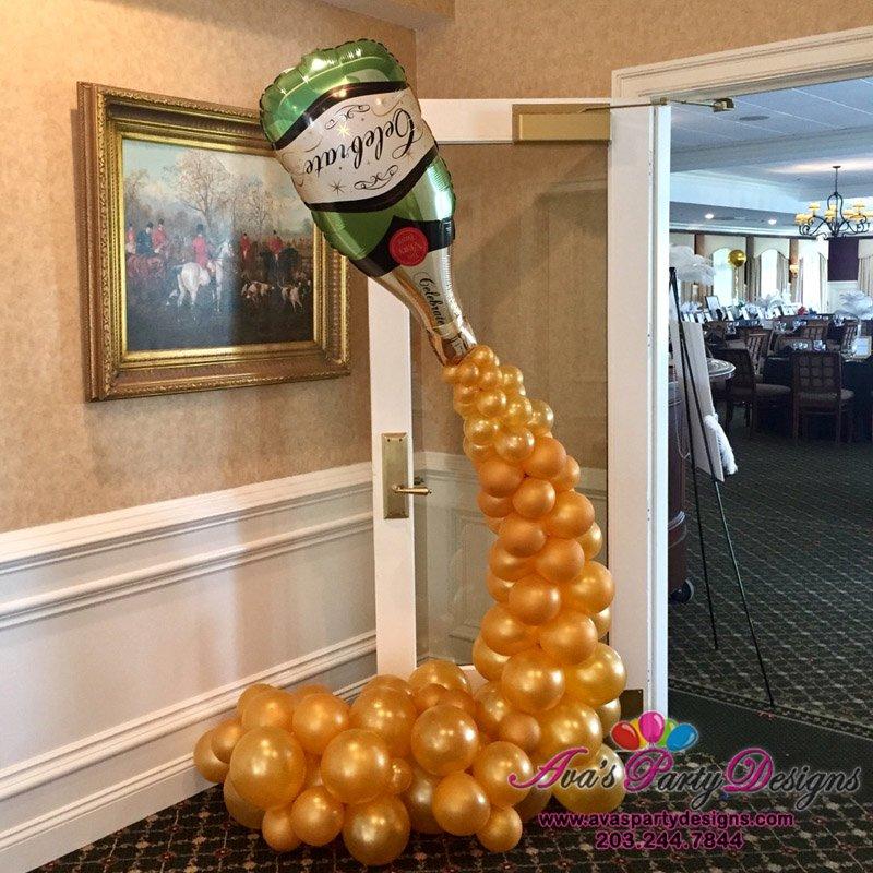 champagne bottle column, balloon decor