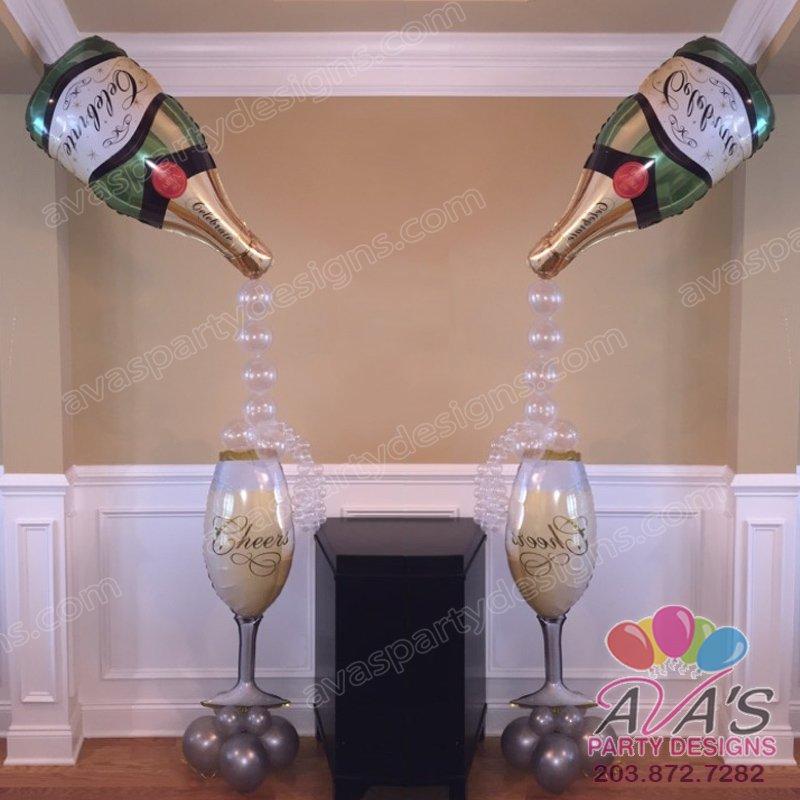 Champagne & Glass Balloons, Wedding Balloon Decoration, Bridal Shower Balloon Decor