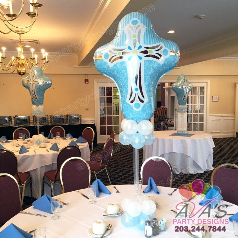Cross Balloon Centerpiece, baptism balloon decor for boy, religious balloon decorr