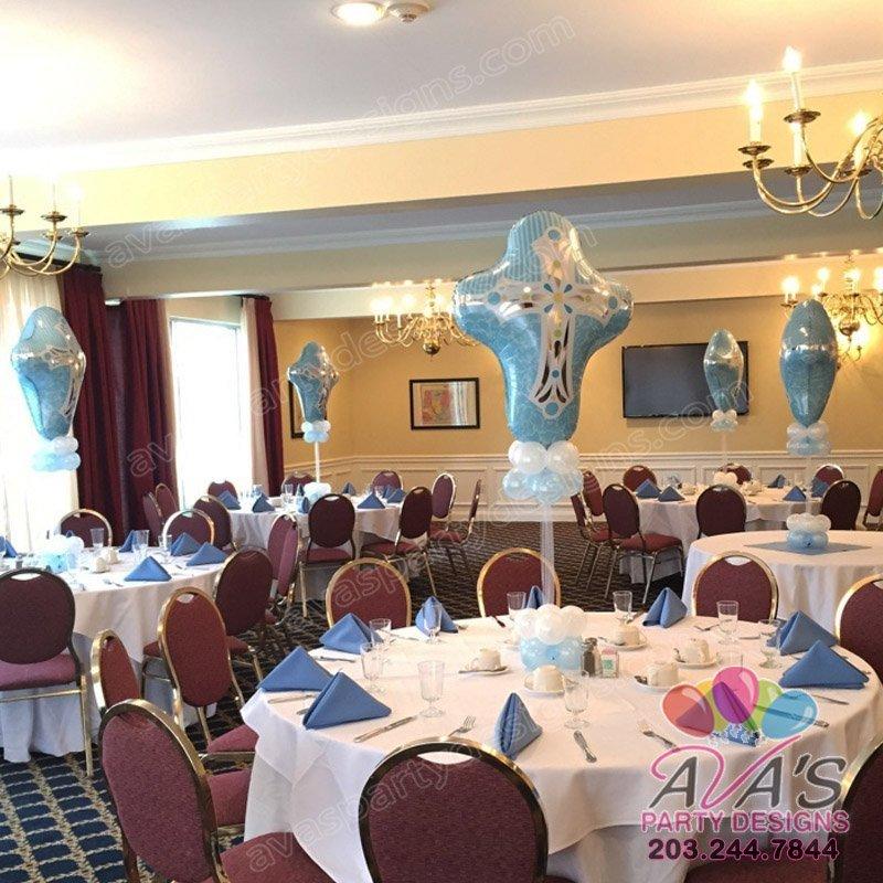 Religious Balloon Centerpieces, Boy Baptism Balloons
