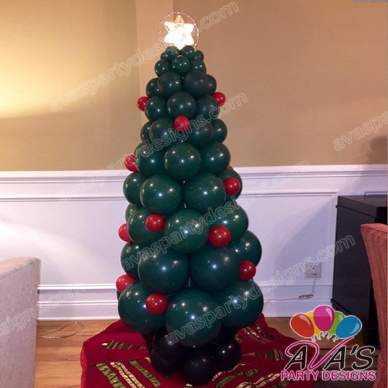 Christmas Tree Balloon Sculpture, holiday balloon decor