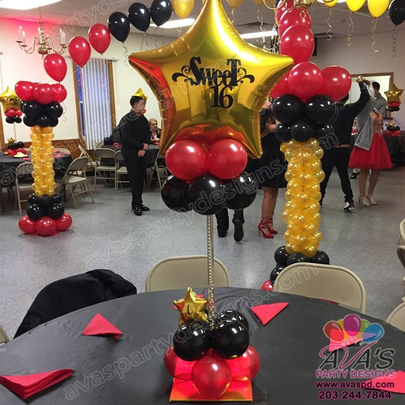 Black, Red and Gold Sweet 16 Balloon Centerpiece, custom design balloon centerpieces