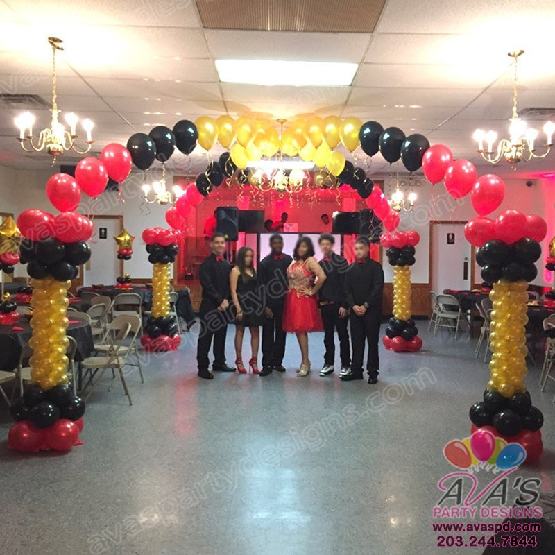 Black Gold and Red Balloon Dance Floor Canopy, sweet 16 balloon decoration.