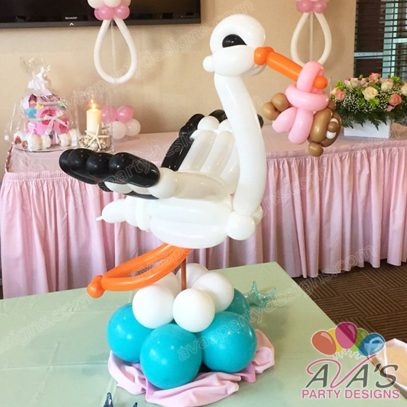 baby shower balloon decoration, balloon stork, balloon sculpture