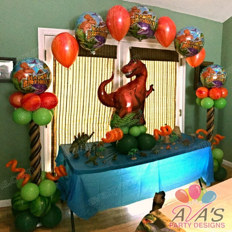 Dinosaur Balloon Arch, Jurassic Park theme party decoration, dinosaur happy birthday balloons, T-Rex balloons