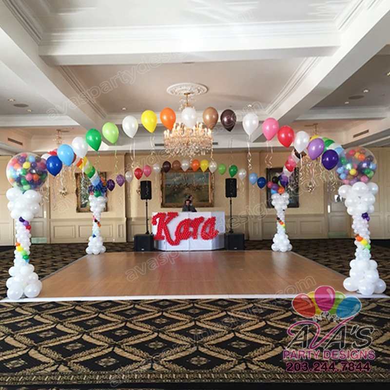Dance Floor Balloon Canopy, Bat Mitzvah Balloon Decor, rainbow theme balloon decoration
