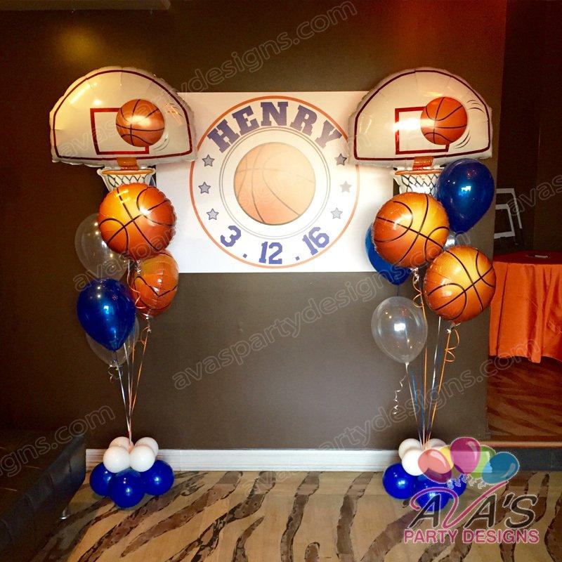 Basketball Theme Bar Mitzvah, sports balloon floor bouquet