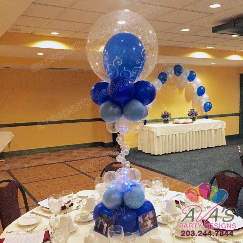 Fancy Filigree Deco Bubble Centerpiece, double bubble balloon, Fancy Filigree balloon decoration