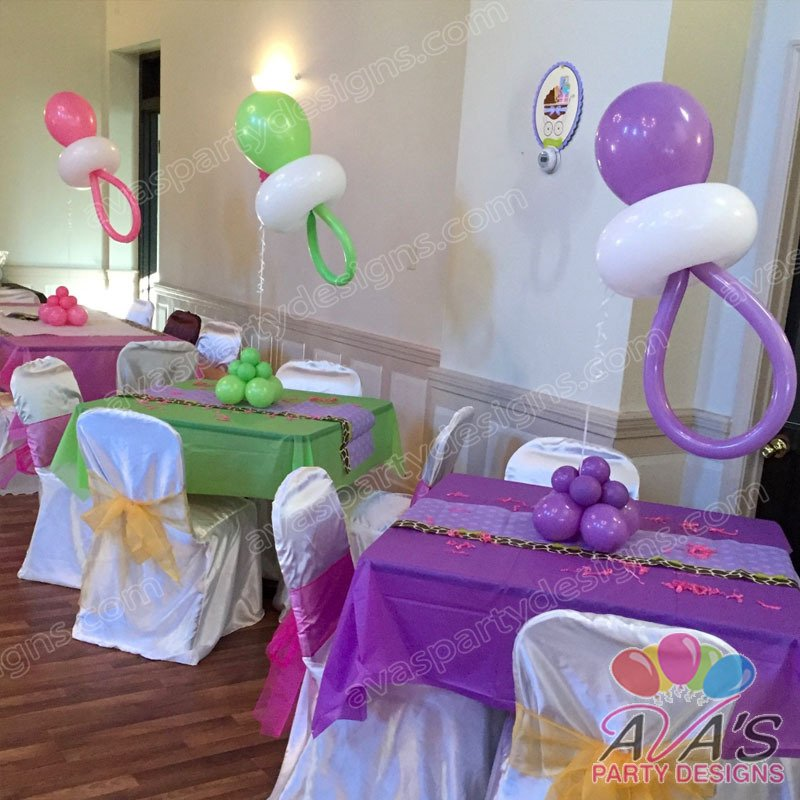 Baby Shower Balloon Pacifier Centerpiece, baby shower balloon decorations, balloon decor ideas for baby shower