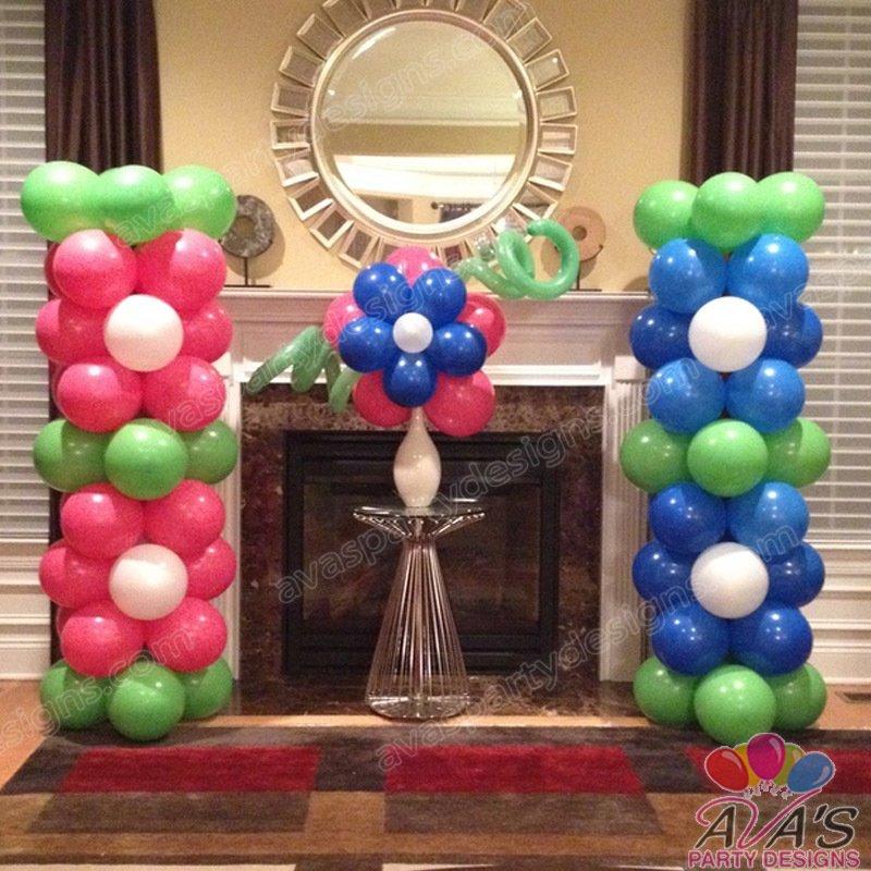 Flower Balloon Column, garden balloon decor