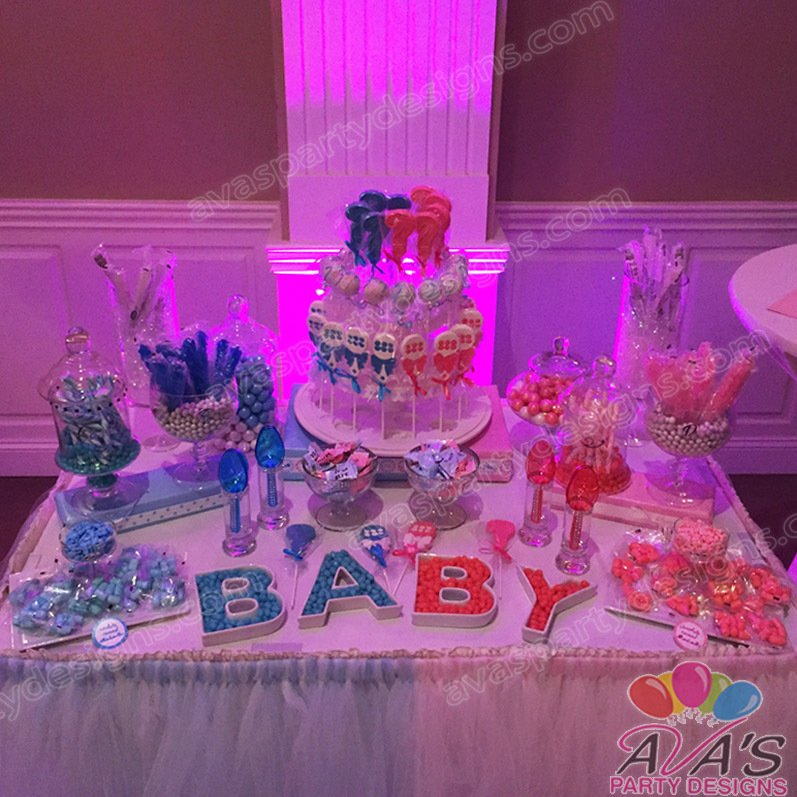 Gender Reveal Candy Buffet, Baby Shower table decor, baby shower decorations, decor ideas for baby shower