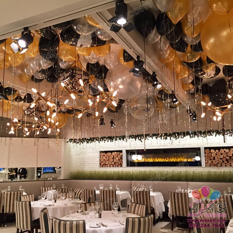 Black Gold and Silver Balloon Ceiling, ceiling balloons, ceiling of balloons and metallic streamers, bulk balloon delivery