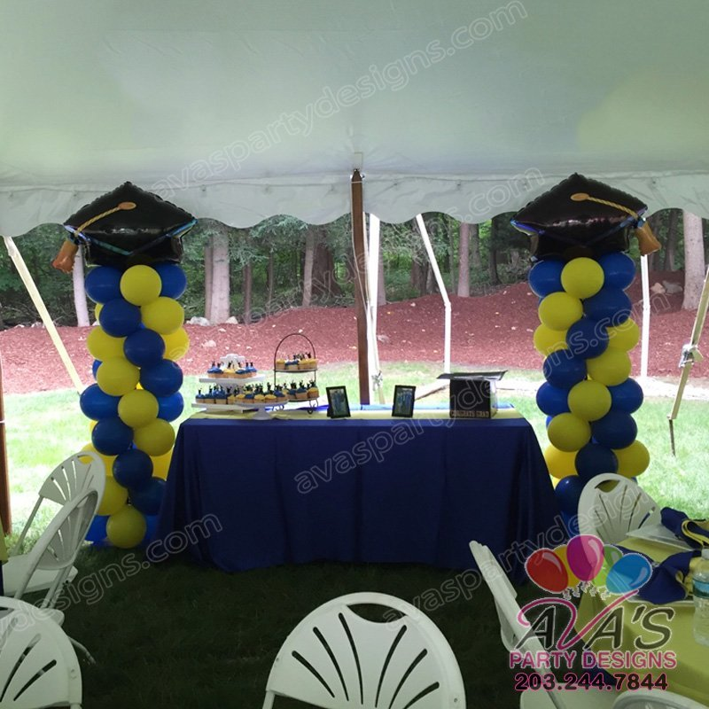 Graduation Cap Balloon Column, School balloon decor, blue and yellow balloon decoration