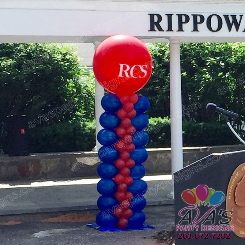 Balloon Column, Red and Blue Balloon Decoration