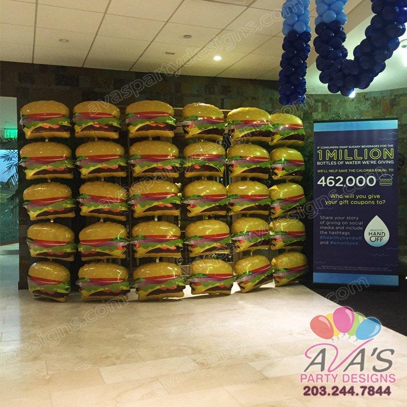 Burger Foil Balloon Wall, food balloon decoration, corporate balloon decor