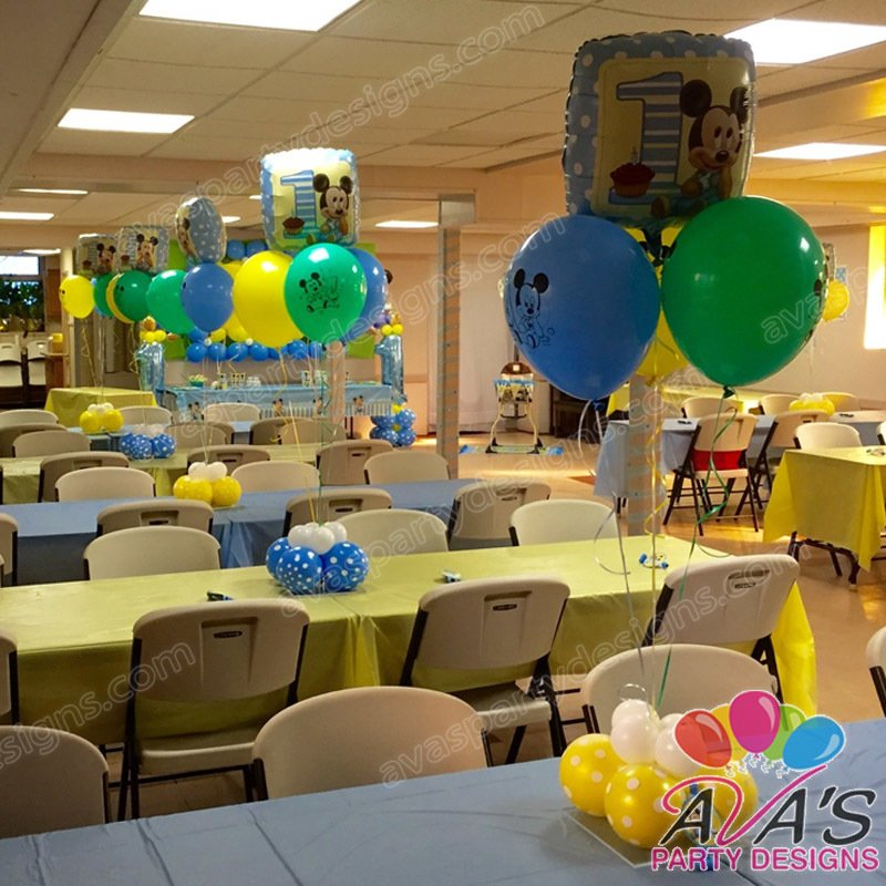 Baby Mickey 1st Birthday Balloon Centerpiece, 1st birthday balloon decoration