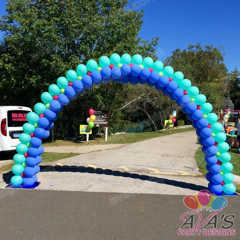 corporate balloon arch, outdoor balloon arch