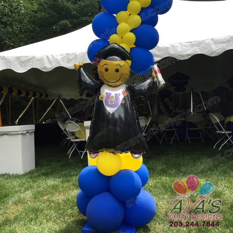 Graduation Foil Balloon, School balloon decor, blue and yellow balloon decoration
