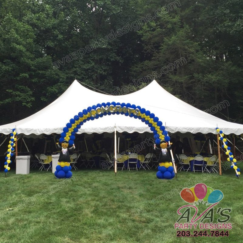 Graduation Balloon Arch, outdoor balloon arch, balloon ideas for outdoor, school balloon decor, blue and yellow balloon decoration
