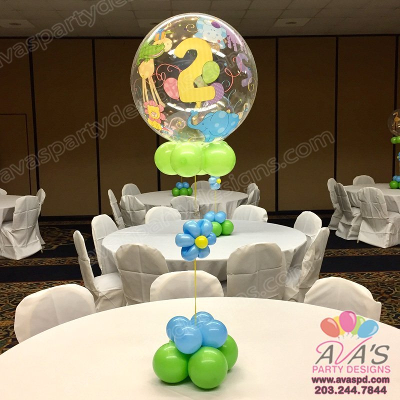 Jungle Animals Bubble Balloon Centerpiece, animal theme balloon decoration
