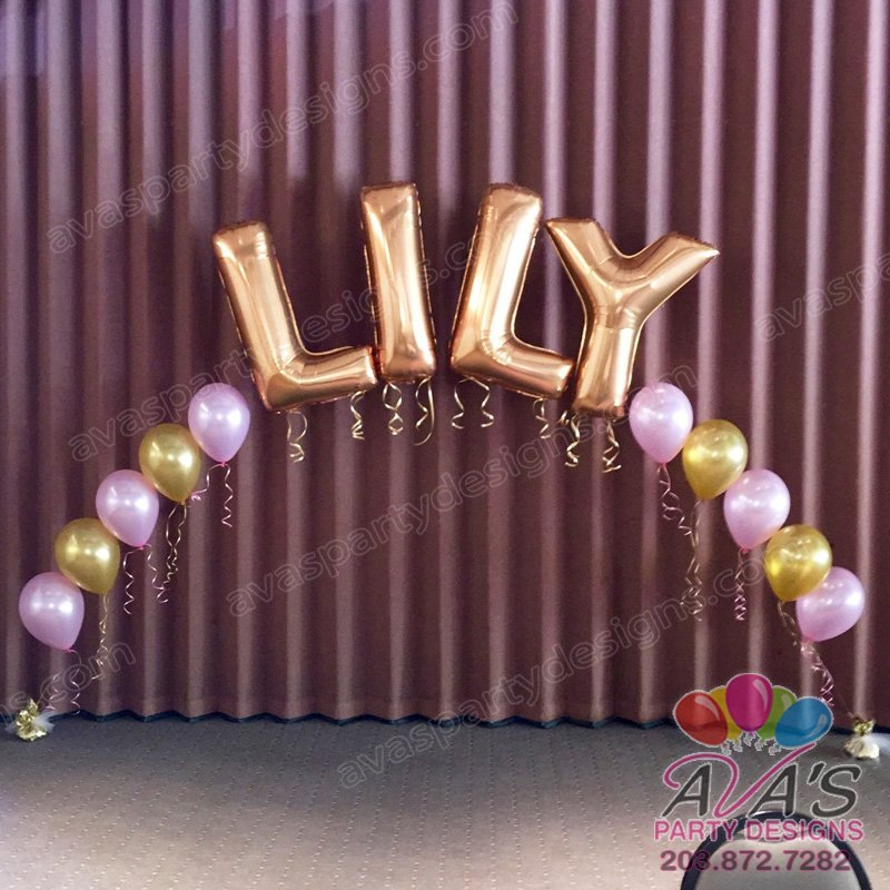 Name Arch, String of Pear Arch, Pink & Gold Balloon Arch