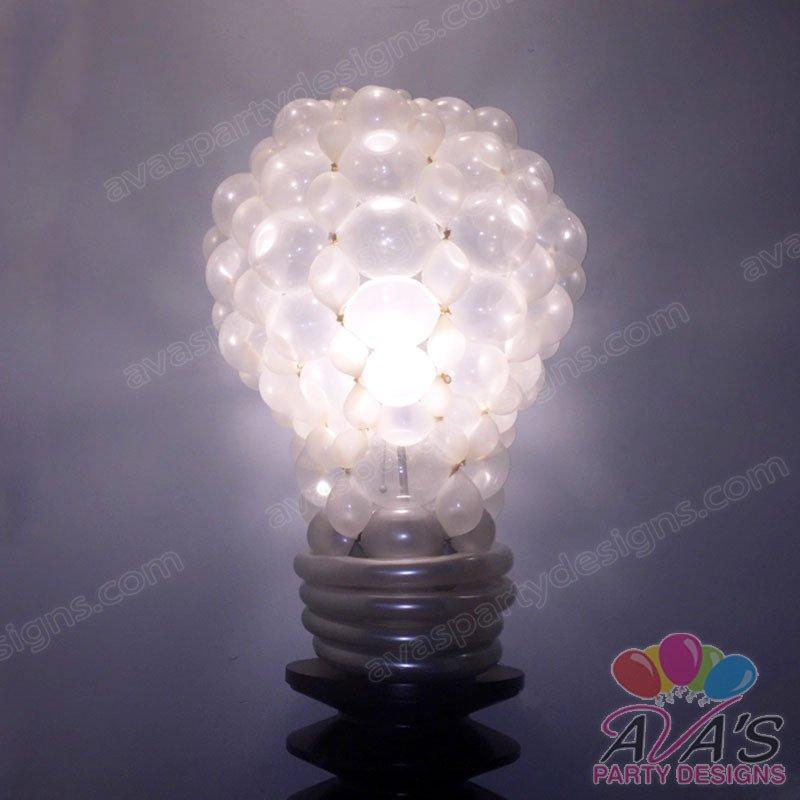 Light bulb balloon, Light bulb balloon sculpture, science balloon decoration idea