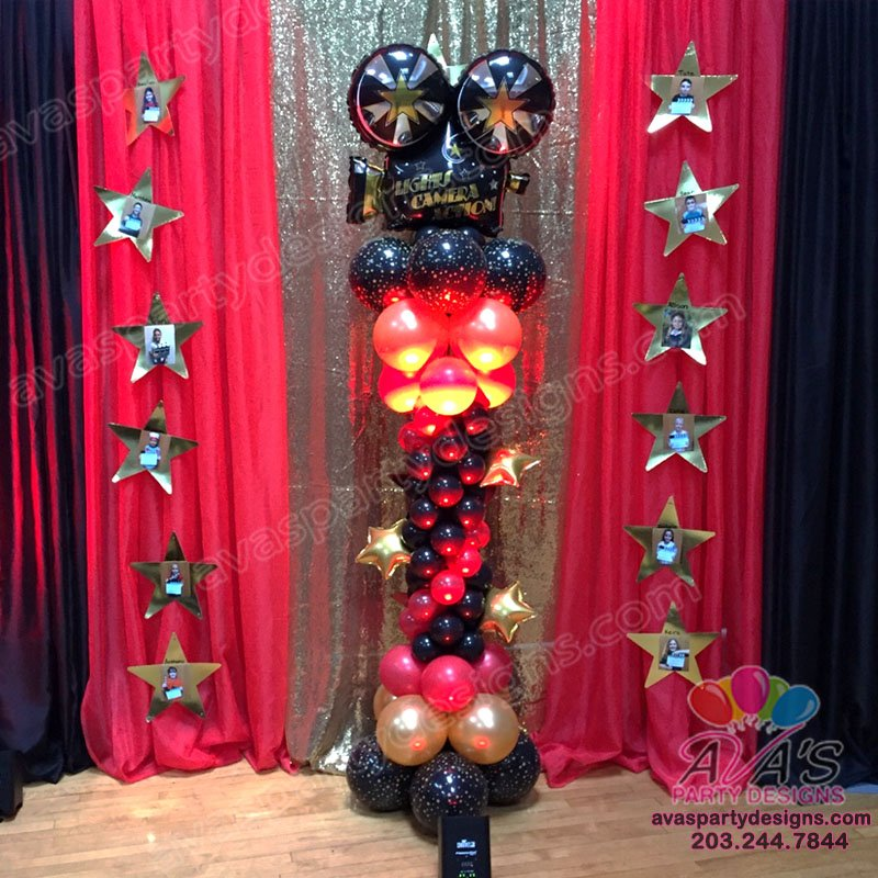 Lights! Camera! Action Balloon Column, movie themed decor, Balloon Columns